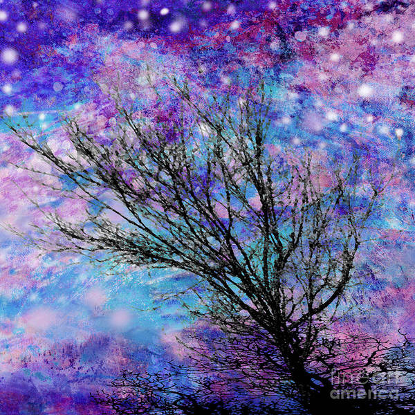 Starry Art Print featuring the digital art Winter Starry Night Square by Ann Powell