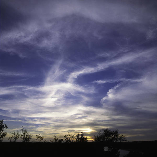 Sunset Art Print featuring the photograph Wispy White Clouds Against Deep Blue Sky At Sunset In Central Te by Alan Tonnesen