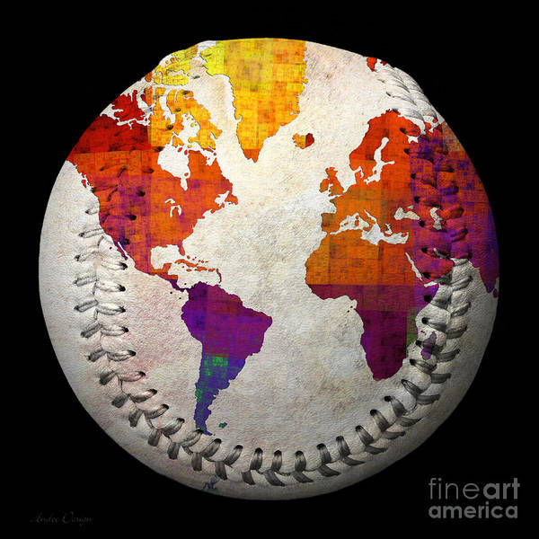 Baseball Art Print featuring the digital art World Map - Rainbow Bliss Baseball Square by Andee Design