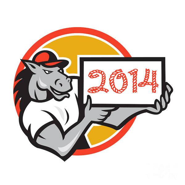 Horse Art Print featuring the digital art Year Of Horse 2014 Showing Sign Cartoon by Aloysius Patrimonio