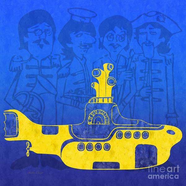 Andee Design Yellow Submarine Art Print featuring the digital art Yellow Submarine by Andee Design