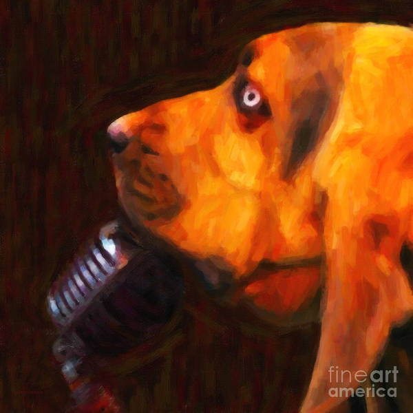 Animal Art Print featuring the photograph You Ain't Nothing But A Hound Dog - Dark - Painterly by Wingsdomain Art and Photography