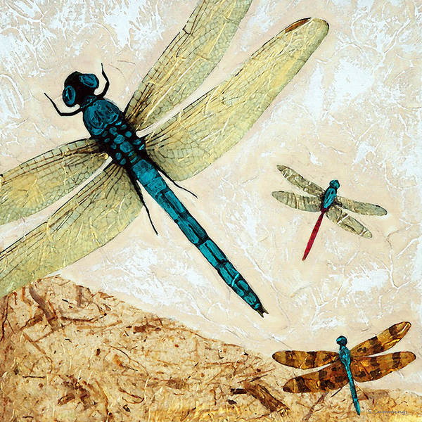 Dragonfly Art Print featuring the painting Zen Flight - Dragonfly Art By Sharon Cummings by Sharon Cummings