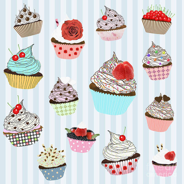 Art Art Print featuring the painting Cupcake by Setsiri Silapasuwanchai