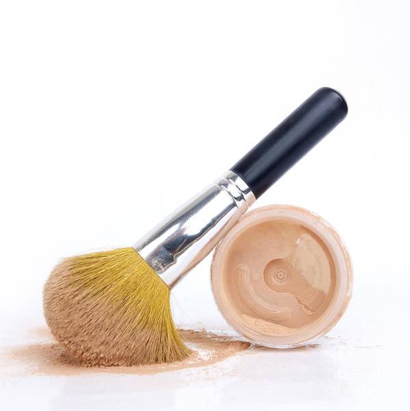 Cosmetics Print featuring the photograph Face Powder And Make-up Brush by Bernard Jaubert