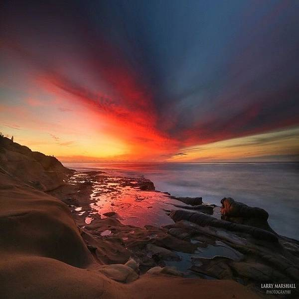 Art Print featuring the photograph Long Exposure Sunset In La Jolla by Larry Marshall