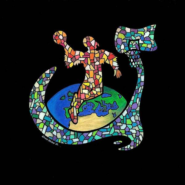 Birdman Art Print featuring the drawing Mosaic Ballin by Steve Weber