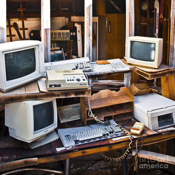 Abandoned Art Print featuring the photograph Old Computers In Storage by Eddy Joaquim