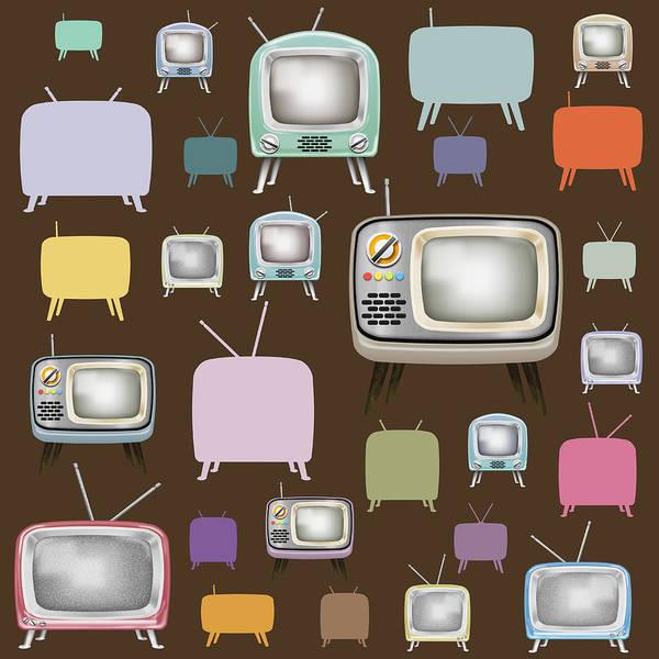 Analog Art Print featuring the painting retro TV pattern by Setsiri Silapasuwanchai