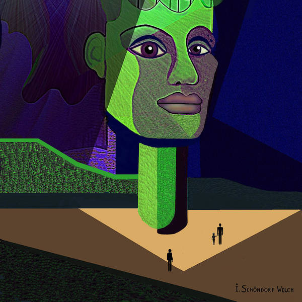 Statue Print featuring the digital art 671 -  Mighty Diva by Irmgard Schoendorf Welch