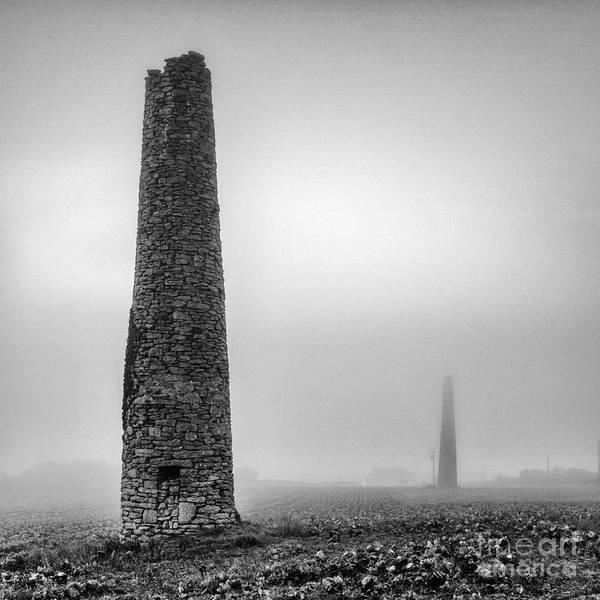 Black And White Art Print featuring the photograph A Twin Cornish Mine Chimneys by John Farnan