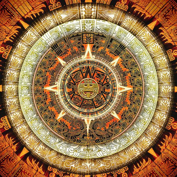 Aztec Art Print featuring the digital art Aztec Calendar by Sampad Art