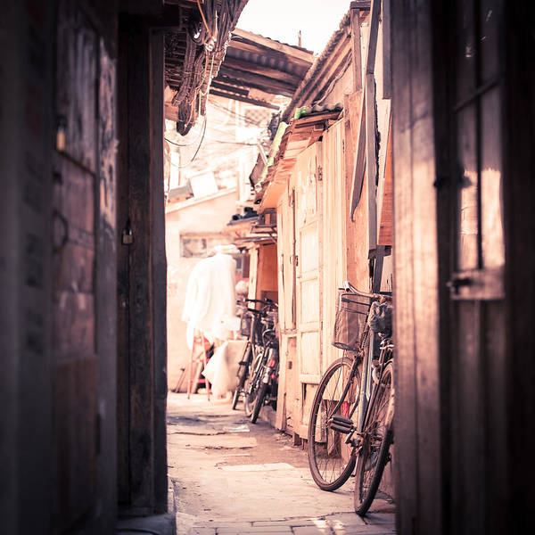 Square Art Print featuring the photograph Beijing Hu Tong Alleys by Capturing a second in life, Copyright Leonardo Correa Luna