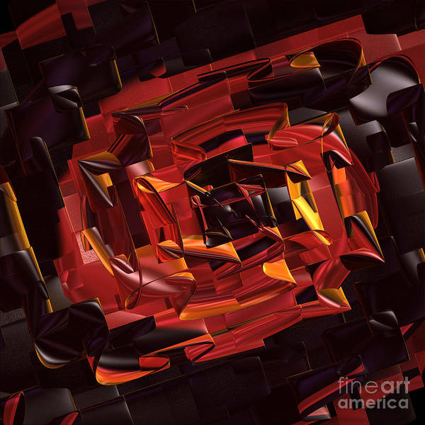 Geometric Art Print featuring the digital art Black And Red by Deborah Benoit