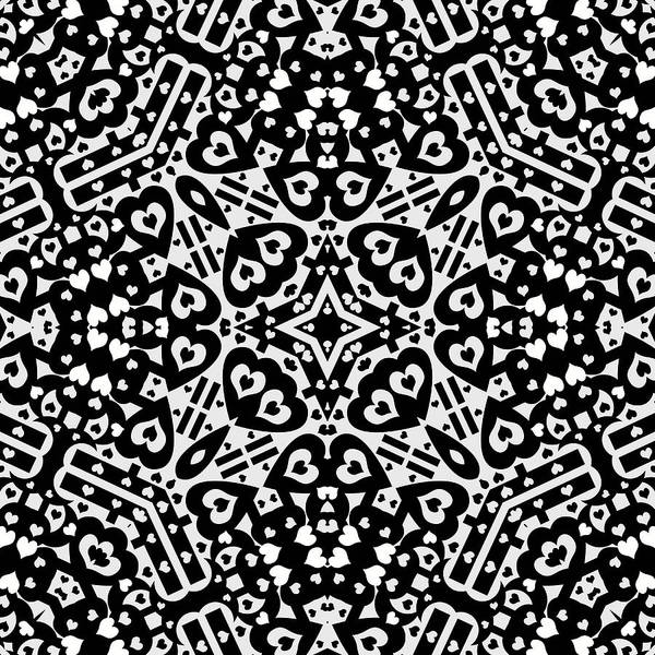Abstract art print featuring the photograph black and white hearts kaleidoscope by david g paul