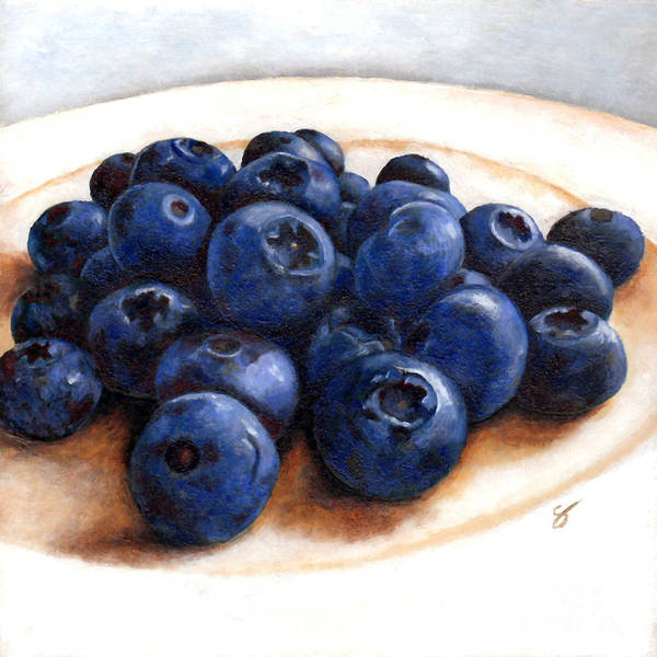 Food Art Print featuring the painting Blueberries by Scott Alberts