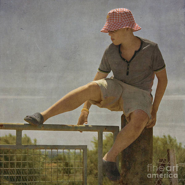 Boy Art Print featuring the photograph Boy On A Fence Waiting For Lance Armstrong by Paul Grand