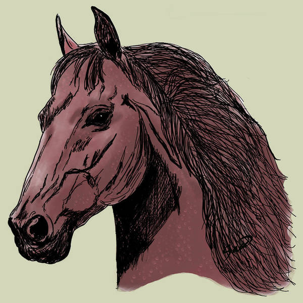 Horse Art Print featuring the digital art Brown Steed by Yiries Saad