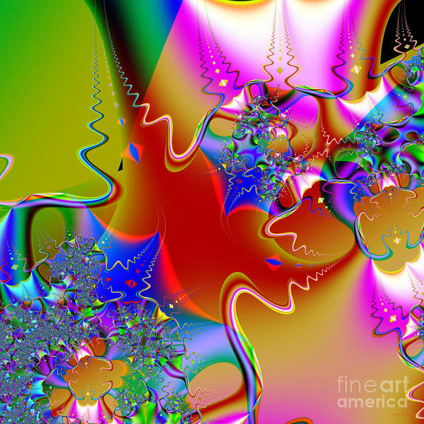 Fractal Art Print featuring the digital art Celebration . Square . S16 by Wingsdomain Art and Photography