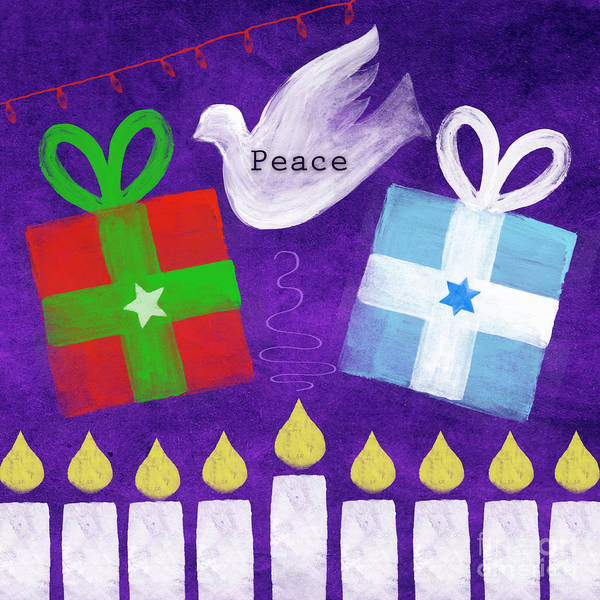 Christmas Art Print featuring the mixed media Christmas And Hanukkah Peace by Linda Woods