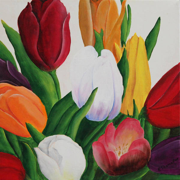 Acrylic Art Print featuring the painting Cluster Of Tulips by Robert Thomaston