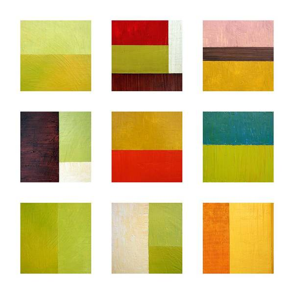 Abstract Art Print featuring the painting Color Study Abstract Collage by Michelle Calkins