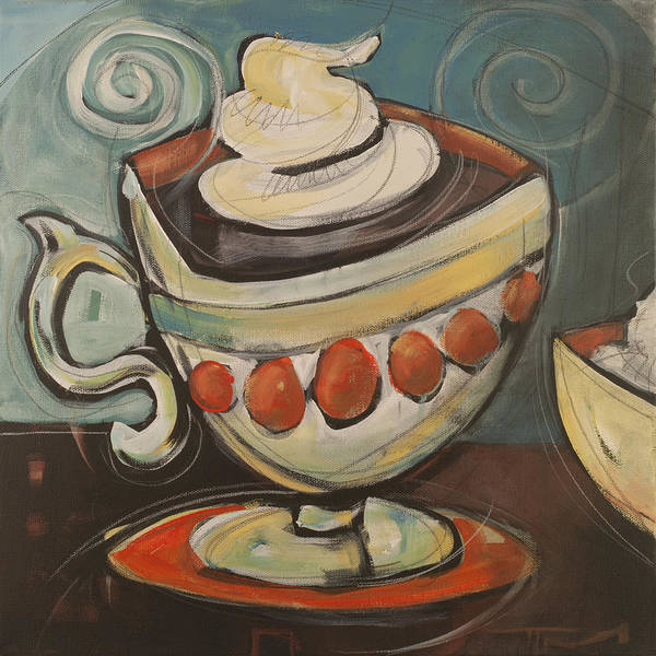 Coffee Art Print featuring the painting Cup Of Mocha by Tim Nyberg