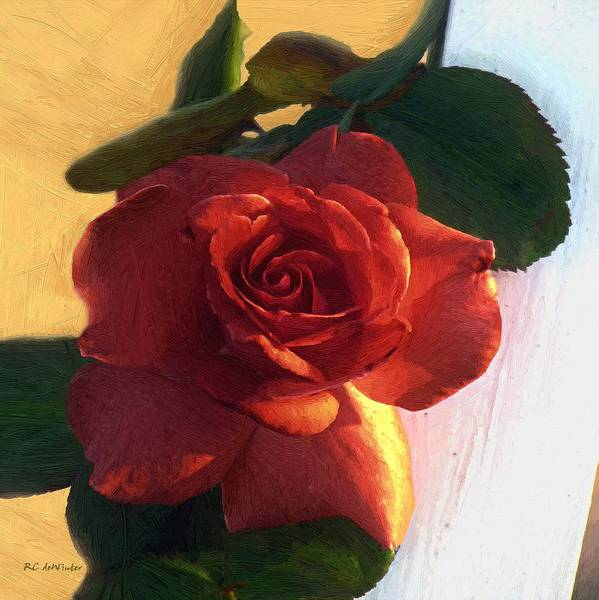 Floral Art Print featuring the painting Desire In Coral by RC DeWinter