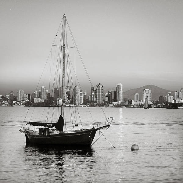 San Diego; California; Boat; Water; Bay; City; Cityscape; Photography; Black And White; B&w; Mountain; View; Nature; Sailing; Sailboat Art Print featuring the photograph Enjoying The View by Sherri Powell