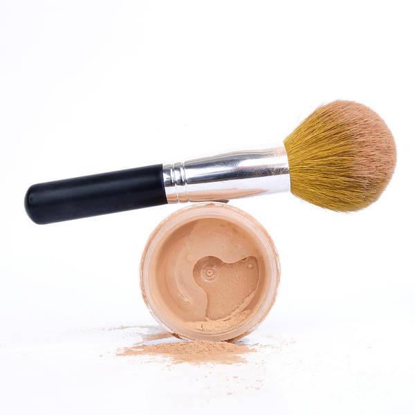 Cosmetics Art Print featuring the photograph Face Powder And Make-up Brush by Bernard Jaubert