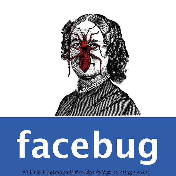 Digital Collage Art Print featuring the digital art Facebug For Women by Eric Edelman