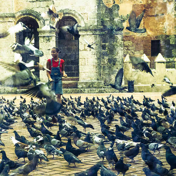 Animals Art Print featuring the photograph Feeding Pigeons by Elena Liachenko