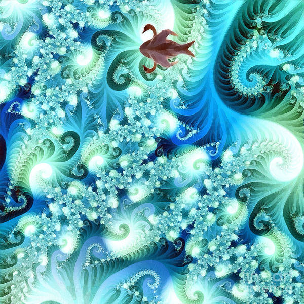 Abstract Art Print featuring the digital art Fractal And Swan by Odon Czintos