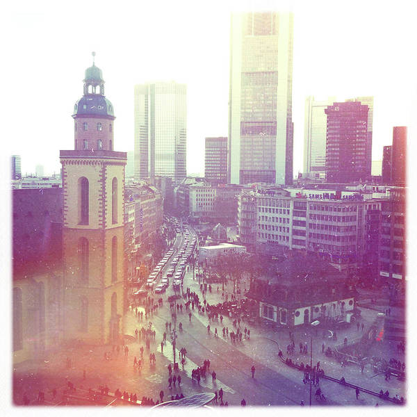 Square Print featuring the photograph Frankfurt Downtown by Ixefra