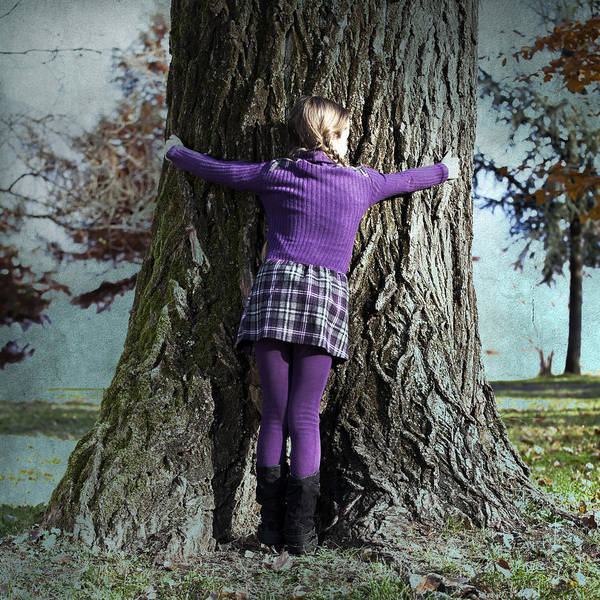 Girl Art Print featuring the photograph Girl Hugging Tree Trunk by Joana Kruse
