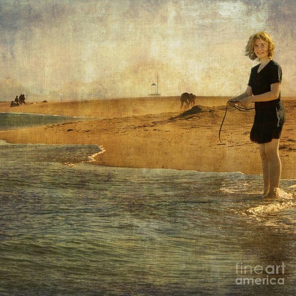 Girl Art Print featuring the photograph Girl On A Shore by Paul Grand