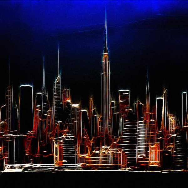 New York City Nyc Ny Big Apple Skyscrapers Night Ligh Lights Moon Moonlight Painting Expressionism Blue Color Colorful Modern Art Cityscape Nightscape Abstract Art Print featuring the digital art Glowing New York by Steve K