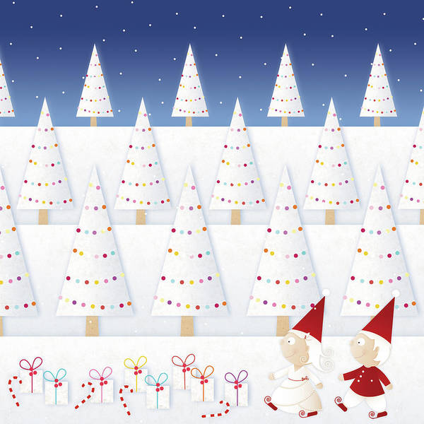 Adult Art Print featuring the digital art Gnomes - December by ©cupofsnowflakes