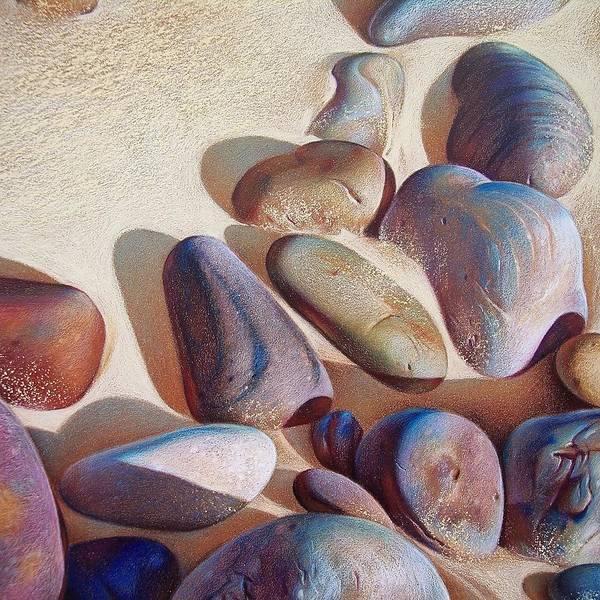 Beach Art Print featuring the drawing Hallett Cove's Stones - Detail by Elena Kolotusha