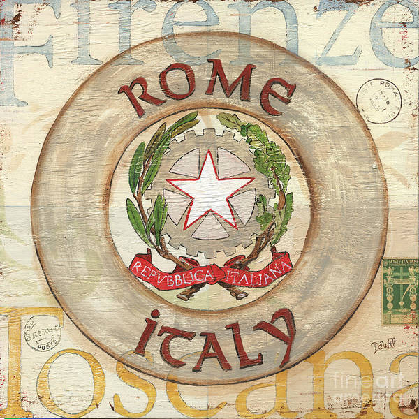 Rome Art Print featuring the painting Italian Coat Of Arms by Debbie DeWitt