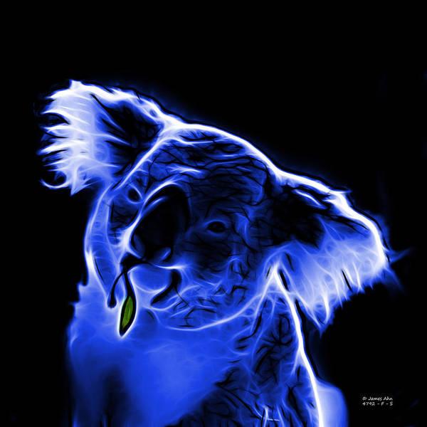 Koala Art Print featuring the digital art Koala Pop Art - Blue by James Ahn