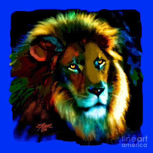 Lions Art Print featuring the painting Lion Icon by Elinor Mavor
