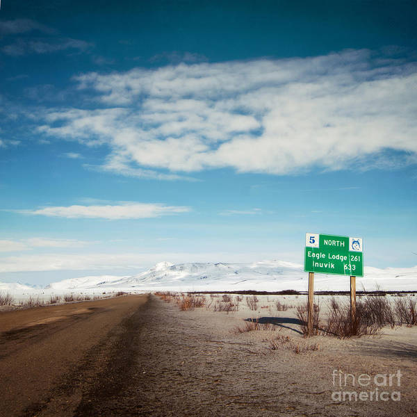 Territories Art Print featuring the photograph Milepost At The Dempster Highway by Priska Wettstein