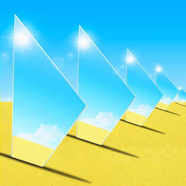 Background Art Print featuring the photograph Mirrors On Sand In Blue Sky by Setsiri Silapasuwanchai