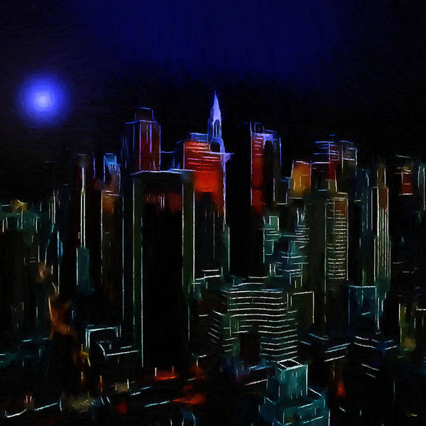 New York City Nyc Ny Big Apple Skyscrapers Night Ligh Lights Moon Moonlight Oil Painting Expressionism Blue Color Colorful Modern Art Cityscape Nightscape Midnight  Art Print featuring the painting New York Midnight by Steve K