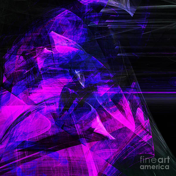 Fractal Art Print featuring the digital art Night Rider . Square . A120423.936.693 by Wingsdomain Art and Photography