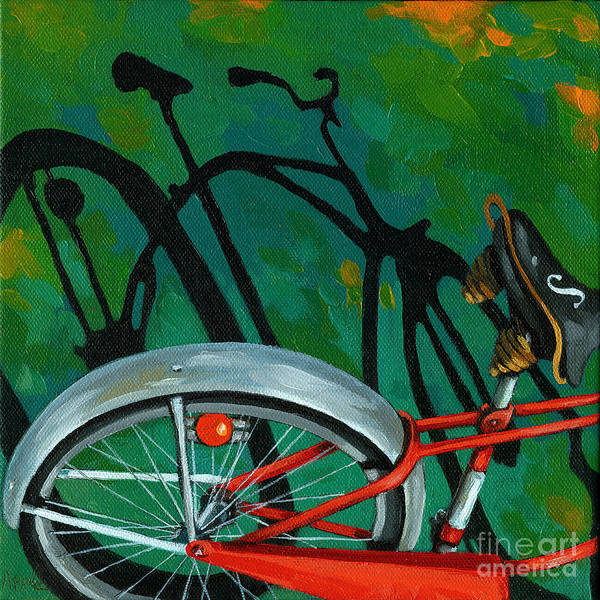 Bike Art Print featuring the painting Old Schwinn by Linda Apple