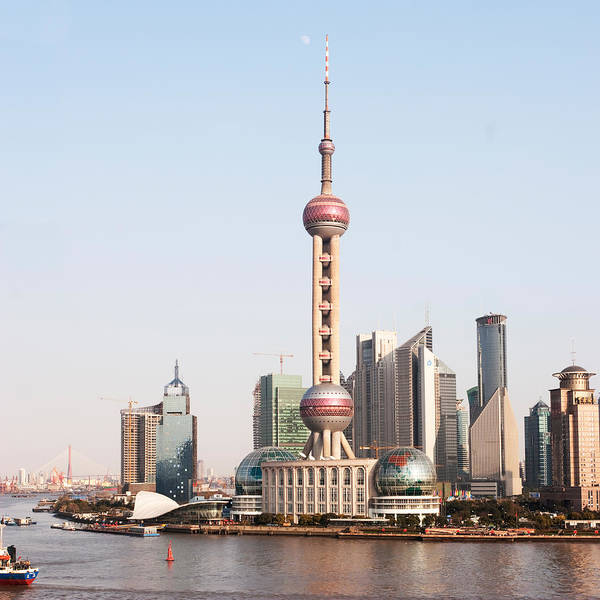 Square Art Print featuring the photograph Oriental Pearl Tower In Shanghai by Roy Hsu