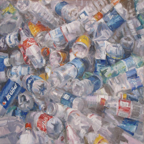 Affordable Art Art Print featuring the painting Plastic Bottles by Andrea Mancini