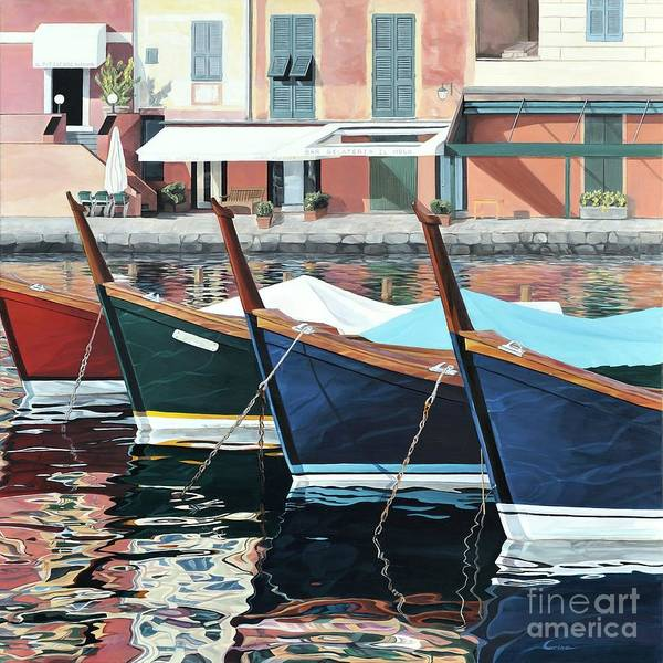 Boats Art Print featuring the painting Portofino by Carina Mascarelli